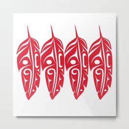 Four Red Feathers Metal Print