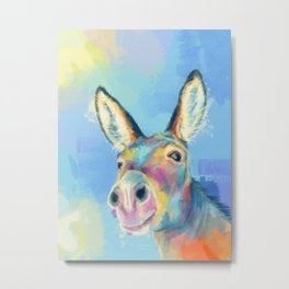 Carefree Donkey - Digital and Colorful Animal Illustration Metal Print