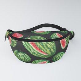 Vibrant Watercolor Watermelon on Black Fanny Pack