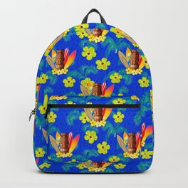 Surfboards And Tiki Mask Pattern Backpack