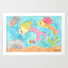 Leafy Mermaids Art Print