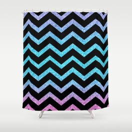 Black Chevron On Glitter Gradient Shower Curtain