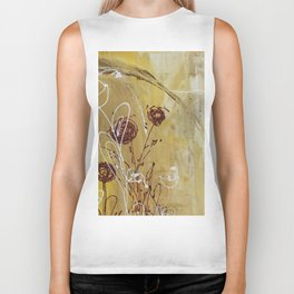 Yellow Tan Spring Abstract Flowers. Jodilynpaintings. Abstract Floral Biker Tank