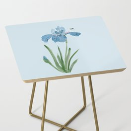 Blue Iris and Bee Side Table