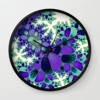 novelty Wall Clocks featuring Leafy Nosegay Fractal by Moody Muse