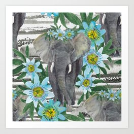 Elephant and passin flowers Art Print