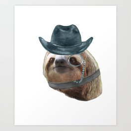 20df194af5e Sloth Monacle cowboy hat Sloths In Clothes Art Print