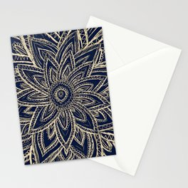 Cute Retro Gold abstract Flower Drawing  geometric Stationery Cards