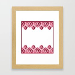 Retro .Vintage . Red lace on a white background . Framed Art Print