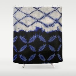 V42 Dark Blue Traditional Moroccan Texture Shower Curtain