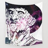 robert farkas Wall Tapestries featuring Galaxy Robert Englund Freddy Krueger by Cookie Cutter Cat Lady