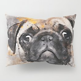 Pug Puppy Using Watercolor On Raw Canvas Pillow Sham