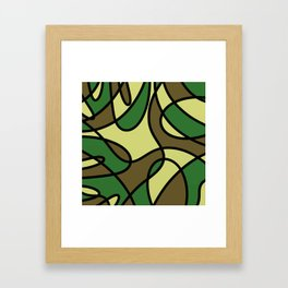 Camo Curves - Abstract, camouflage coloured pattern Framed Art Print