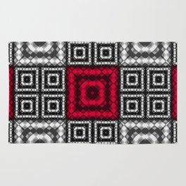 Red black patchwork Rug