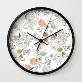 Elegant abstract coral pastel blue modern rustic floral Wall Clock