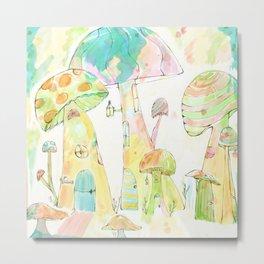 Mini Mushroom Village Metal Print