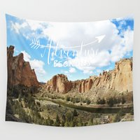 melissa smith Wall Tapestries featuring adventure beckons- Smith Rock Oregon by Sylvia Cook Photography