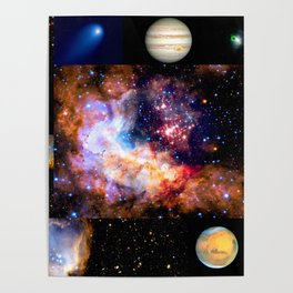 Space Galaxy Nebula Collage Poster
