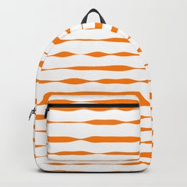 orange abstract striped pattern Backpack