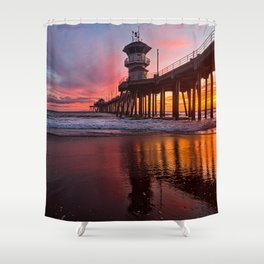 HB Sunsets  3-21-16 - Sunset At The Huntington Beach Pier Shower Curtain