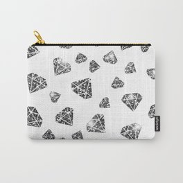 Glam Black Faux Glitter Diamond Gems Pattern Carry-All Pouch