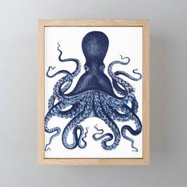 Watercolor blue vintage octopus Framed Mini Art Print