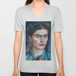 FRIDA KAHLO - watercolor portrait.2 Unisex V-Neck