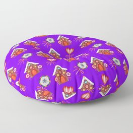 Gingerbread houses, colorful hearts candy lollipops. Retro vintage Floor Pillow