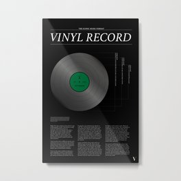 The Iconic Vinyl Record (Black, Green) Metal Print
