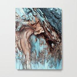 Mint Blue Wood Texture Metal Print