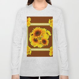 CHOCOLATE BROWN YELLOW SUNFLOWER BOUQUETS Long Sleeve T-shirt