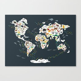 Cartoon animal world map for children, kids, Animals from all over the world, back to school, gray Canvas Print