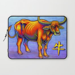 Chinese Zodiac Year of the Ox Colorful Bull Laptop Sleeve