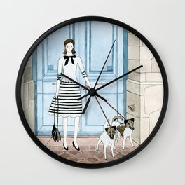 Lady With Two Dogs Wall Clock