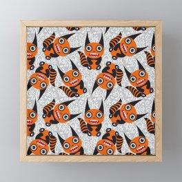 Funny orange monster Framed Mini Art Print