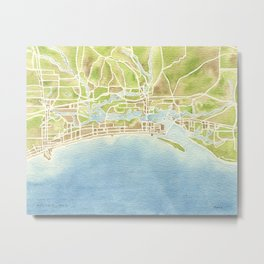 Biloxi Mississippi coast watercolor map Metal Print