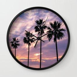 La Jolla Palm Trees Ocean Beach Silhouettes (Purple, blue) Wall Clock