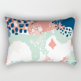 Kayl - abstract painting minimal coral mint navy color palette boho hipster decor nursery Rectangular Pillow