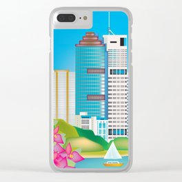 Brisbane, Australia - Skyline Illustration by Loose Petals Clear iPhone Case