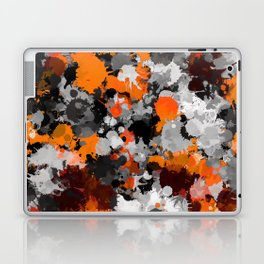 Orange and Grey Paint Splatter Laptop & iPad Skin