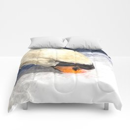 Swan Watercolour Art Comforters