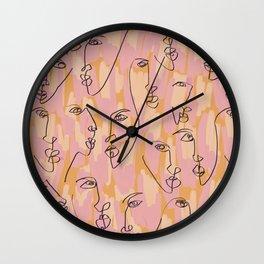 Twin Flames Mustard Wall Clock