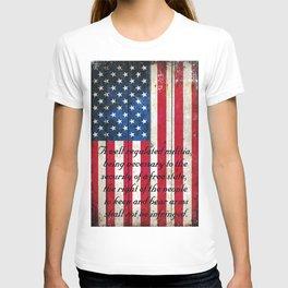 2nd Amendment on American Flag - Vertical Print T-shirt