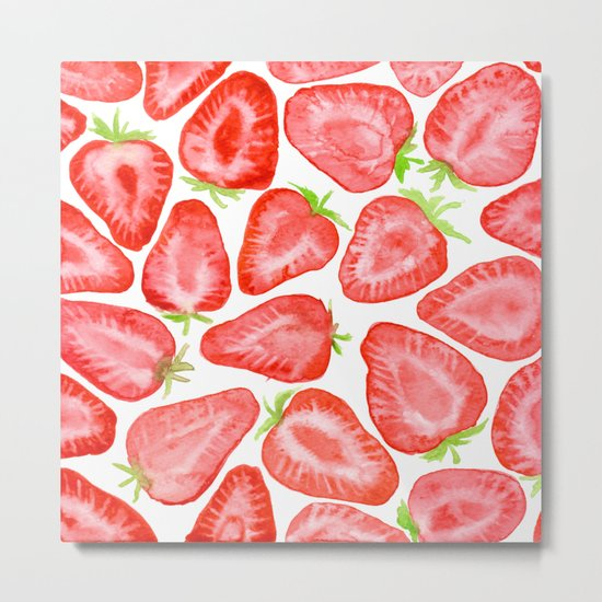 Watercolor strawberry slices pattern Metal Print