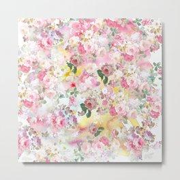 Pink elegant watercolor roses flowers pattern Metal Print