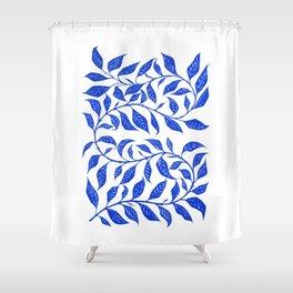 Bontanical Art Blue Leaf Shower Curtain