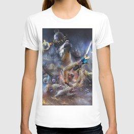 Laser Sloth Fighting Evil Llama King T-shirt