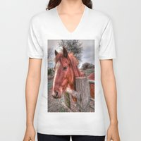 pony V-neck T-shirts featuring Pony  by Darren Wilkes Fine Art Images