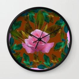 LEAFY PINK ROSE GARDEN & COFFEE BROWN ART Wall Clock