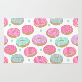 Donut hearts pastel colors love happy hipster foodie funny valentines day Rug